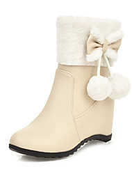 cheap -Women's Boots Snow Boots Hidden Heel Round Toe Bowknot / Pom-pom Faux Leather Booties / Ankle Boots Casual / Sweet Walking Shoes Spring &  Fall / Fall & Winter Pink / Beige