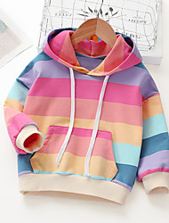 cheap -Kids Girls' Hoodie & Sweatshirt Long Sleeve Stripe Rainbow School Pocket Patchwork Children Tops Candy color Basic Red Green