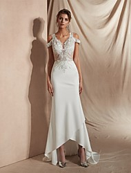 cheap -Mermaid / Trumpet V Neck Asymmetrical Matte Satin Short Sleeve Casual / Sexy Illusion Detail / Modern Wedding Dresses with Appliques 2020