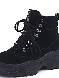 cheap -Women's Boots Flat Heel Round Toe PU Booties / Ankle Boots Winter Black / Beige