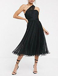 cheap -A-Line One Shoulder Tea Length Tulle Dress with Pleats by LAN TING Express