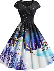 cheap -Women's Black Dress Elegant Christmas Party Swing Floral V Neck Print S M