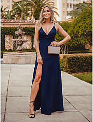 cheap -Sheath / Column V Neck Floor Length Cotton Sexy / Blue Formal Evening / Party Wear Dress with Split 2020