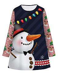 cheap -Kids Girls' Basic Cute Snowman Color Block Cartoon Christmas Print Long Sleeve Knee-length Dress Navy Blue