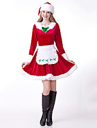 cheap -Santa Claus Dress Women's Adults' Costume Party Christmas Christmas Cotton Dress / Hat / Hip Scarf