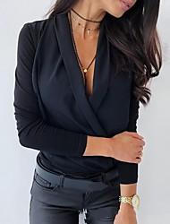 Недорогие -Жен. Однотонный Пэчворк Свободный силуэт Рубашка Элегантный стиль Уличный стиль Повседневные На выход V-образный вырез Белый / Черный / Розовый / Светло-серый
