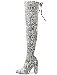 cheap -Women's Boots Print Shoes Chunky Heel Pointed Toe Synthetics Thigh-high Boots Sweet / British Winter / Fall & Winter Brown / Light Grey / Wedding / Party & Evening