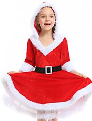 cheap -Santa Claus Dress Girls' Kid's Costume Party Christmas Christmas Velvet Dress / Belt