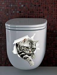 Недорогие -новый 3d котенок обои детская комната ванная комната туалет наклейки mu85004