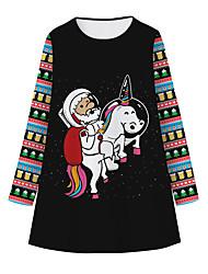 cheap -Kids Girls' Sweet Cute Santa Claus Unicorn Galaxy Snowflake Christmas Patchwork Print Long Sleeve Knee-length Dress Black