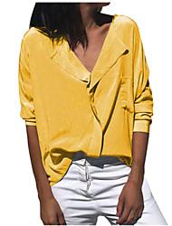 Недорогие -Жен. Однотонный Рубашка Классический Элегантный стиль Повседневные Офис V-образный вырез Синий / Желтый / Хаки