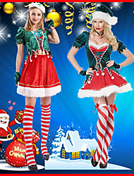 cheap -Santa Claus Skirt Women's Adults' Costume Party Christmas Christmas Polyester Top / Dress / Gloves / Hat