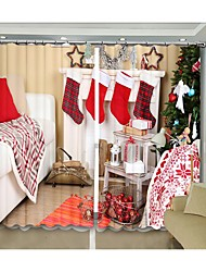 cheap -New Red Christmas Scks Curtain On Christmas Fireplace Digital Printing 3D Curtain Festival High Quality Blackout Curtain
