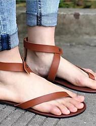 cheap -Women's Sandals Flat Heel Round Toe PU Spring & Summer Black / Brown