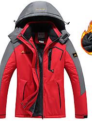 cheap -Men's Hiking Jacket Winter Outdoor Waterproof Windproof Breathable Warm Jacket Top Fleece Full Length Hidden Zipper Ski / Snowboard Climbing Camping / Hiking / Caving Black / Sky Blue / Light Red
