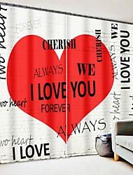 cheap -Red Love Graffiti Text Digital Printing 3D Window Shading Curtain High Precision Black Silk Fabric High Quality Curtain