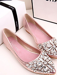 cheap -Women's Flats Glitter Crystal Sequined Jeweled Flat Heel Pointed Toe Crystal / Sparkling Glitter Synthetics Casual / Vintage Spring &  Fall / Spring & Summer Pink / Gold / Silver / Party & Evening
