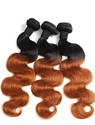 "cheap -3 Bundles Brazilian Hair Body Wave Virgin Human Hair Remy Human Hair Ombre Hair Weaves / Hair Bulk Human Hair Extensions Ombre 12""~26"" Multi-color Human Hair Weaves Natural Best Quality African"