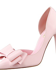 cheap -Women's Heels Stiletto Heel Pointed Toe Bowknot PU Minimalism Spring & Summer Black / White / Yellow / Party & Evening
