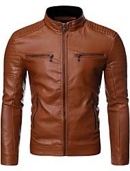 abordables -Homme Quotidien / Sports Chic de Rue Automne hiver Normal Veste de cuir, Couleur Pleine Mao Manches Longues Polyuréthane Noir / Chameau / Marron