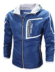 abordables -Homme Quotidien / Sports Printemps été / Automne hiver Normal Veste, Bloc de Couleur Capuche Manches Longues Polyester Noir / Bleu