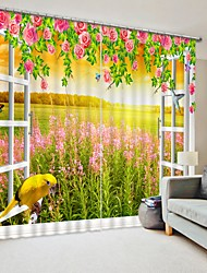 cheap -Garden Digital Printing 3D Curtain Shading Curtain High Precision Black Silk Fabric High Quality Curtain