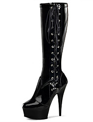 cheap -Women's Boots Cone Heel Round Toe Bowknot PU Mid-Calf Boots Classic / Minimalism Spring &  Fall / Fall & Winter Black / Party & Evening