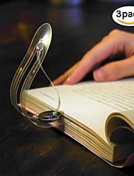 abordables -zdm 3pcs marque-pages lumière du livre de signets lumière facile pour les yeux ultra mince batterie alimenté led livre lumière lampe de lecture flexible