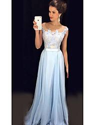 cheap -A-Line Illusion Neck Sweep / Brush Train Chiffon Elegant Prom Dress with Appliques / Sash / Ribbon 2020