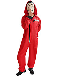 cheap -Movie / TV Theme Costumes Dali Outfits Costume Men's Women's Movie Cosplay Halloween Red Leotard / Onesie Halloween Carnival Day of the Dead Poly / Cotton Blend