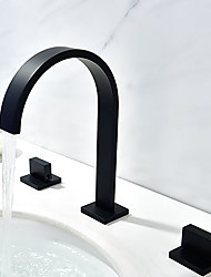 cheap -Bathroom Sink Faucet - Waterfall Black Widespread Two Handles Three HolesBath Taps