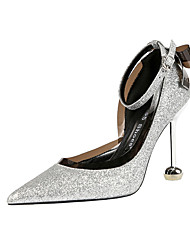 cheap -Women's Wedding Shoes Stiletto Heel Pointed Toe Bowknot / Sequin Synthetics Minimalism Spring & Summer Black / Champagne / Gold