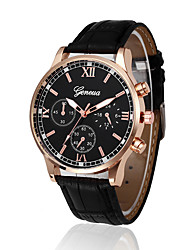 cheap -Men's Sport Watch Quartz PU Leather Black / Brown No New Design Casual Watch Cool Analog New Arrival Fashion - Black Brown Black / White One Year Battery Life