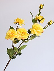 Недорогие -1 ветка 7 голов искусственного шелка поддельные цветы лист роза свадьба цветочный декор букет, упаковка из 1
