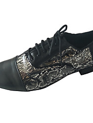 cheap -Men's Modern Shoes / Ballroom Shoes Leather Lace-up Heel Thick Heel Customizable Dance Shoes Black / Silver / Black / Blue
