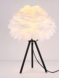 cheap -Table Lamp Feather Bedside Lamp Decorative Girls Bedside Lamp Modern Contemporary Nordic Style For Bedroom Office Metal 110-120V 220-240V White Black