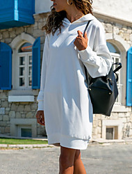 cheap -Women's Daily Wear Basic Shift Dress - Solid Colored Black White Blue S M L XL