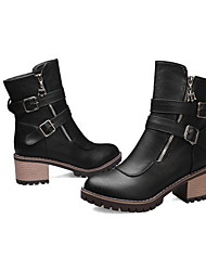 cheap -Women's Boots Chunky Heel Round Toe PU Booties / Ankle Boots Winter Black / Brown / Gray