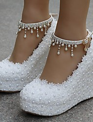 cheap -Women's Wedding Shoes Glitter Crystal Sequined Jeweled Wedge Heel Round Toe PU Fall & Winter White / Party & Evening