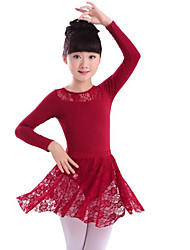 cheap -Ballet Outfits Girls' Training / Performance Cotton / Lace Lace / Sashes / Ribbons / Split Joint Long Sleeve Natural Skirts / Leotard / Onesie