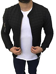 abordables -Homme Quotidien Court Veste, Couleur Pleine Sans col Manches Longues Polyester Noir / Gris / Kaki