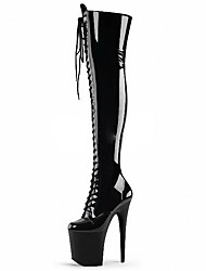 cheap -Women's Boots Cone Heel Round Toe Bowknot PU Over The Knee Boots Classic / British Spring &  Fall / Fall & Winter Black / Gray / Party & Evening