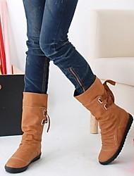 cheap -Women's Boots Flat Heel Round Toe PU Mid-Calf Boots Fall & Winter Black / Yellow / Gray