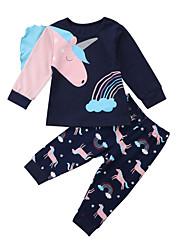 cheap -Baby Girls' Active Fantastic Beasts Print Patchwork / Print Long Sleeve Long Clothing Set Royal Blue