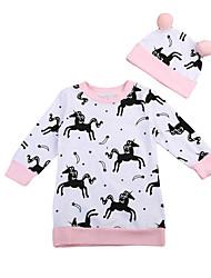 Χαμηλού Κόστους -Μωρό Κοριτσίστικα Ενεργό Άλογο Στάμπα Στάμπα Μακρυμάνικο Ολόσωμη Φόρμα & Φόρμες Λευκό
