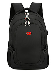 cheap -Large Capacity Nylon Zipper Commuter Backpack Solid Color Outdoor Black