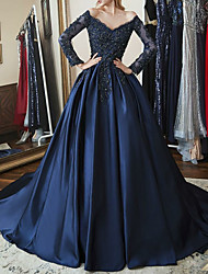 cheap -Ball Gown Sparkle Blue Quinceanera Prom Dress Off Shoulder Long Sleeve Chapel Train Satin with Beading Appliques 2020