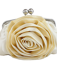 cheap -Women's Flower Silk Evening Bag Solid Color Black / White / Almond