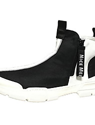 cheap -Men's Comfort Shoes PU Fall & Winter Sneakers Booties / Ankle Boots Color Block Black / Gold / Black and White