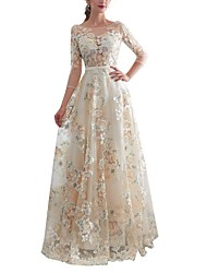 cheap -A-Line Jewel Neck Floor Length Lace 3/4 Length Sleeve Made-To-Measure Wedding Dresses with Embroidery 2020